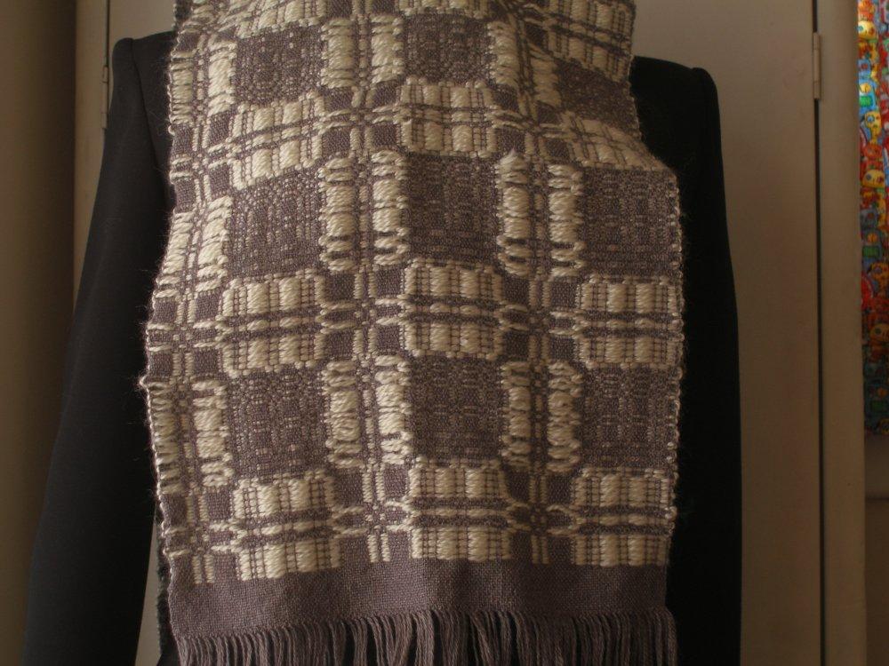 Wool White & Grey Scarf 2011
